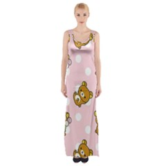 Kawaii Bear Pattern Maxi Thigh Split Dress