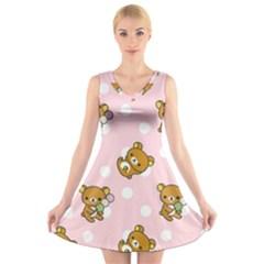 Kawaii Bear Pattern V Neck Sleeveless Skater Dress by Nexatart