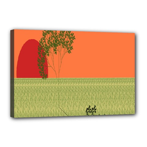 Sunset Orange Green Tree Sun Red Polka Canvas 18  X 12  by Mariart