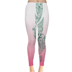 Toggle The Widget Bar Leaf Green Pink Leggings  by Mariart