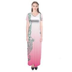 Toggle The Widget Bar Leaf Green Pink Short Sleeve Maxi Dress