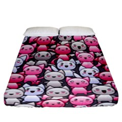 Cute Doodle Wallpaper Cute Kawaii Doodle Cats Fitted Sheet (california King Size) by Nexatart