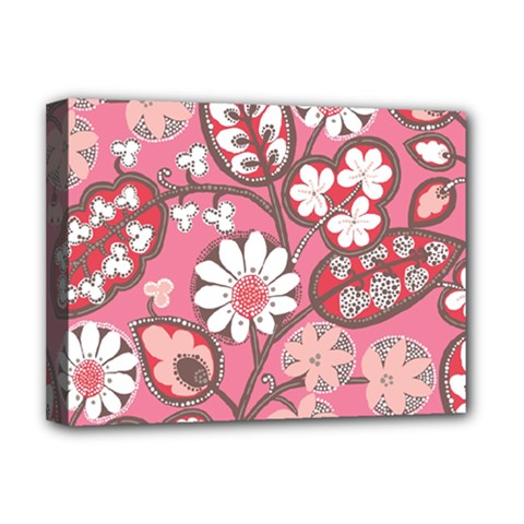 Pink Flower Pattern Deluxe Canvas 16  X 12   by Nexatart
