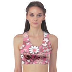 Pink Flower Pattern Sports Bra