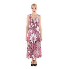 Pink Flower Pattern Sleeveless Maxi Dress