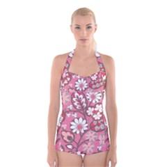 Pink Flower Pattern Boyleg Halter Swimsuit