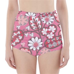 Pink Flower Pattern High Waisted Bikini Bottoms