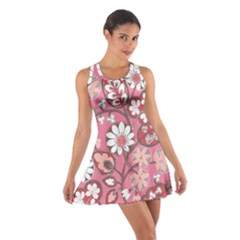 Pink Flower Pattern Cotton Racerback Dress