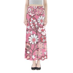 Pink Flower Pattern Maxi Skirts
