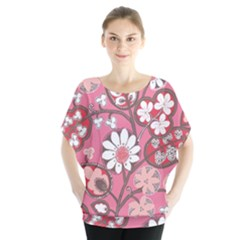 Pink Flower Pattern Blouse by Nexatart