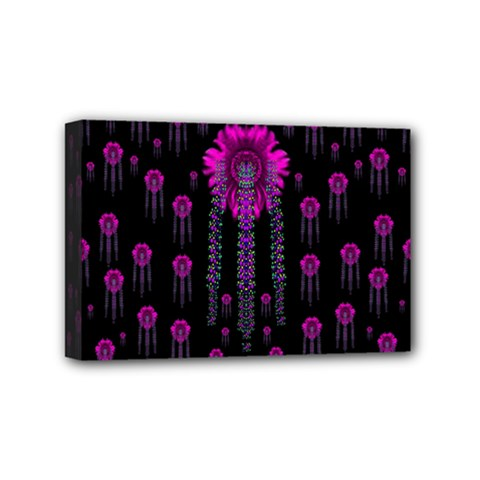 Wonderful Jungle Flowers In The Dark Mini Canvas 6  X 4  by pepitasart