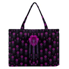 Wonderful Jungle Flowers In The Dark Medium Zipper Tote Bag by pepitasart