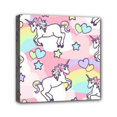 Unicorn Rainbow Mini Canvas 6  X 6  by Nexatart