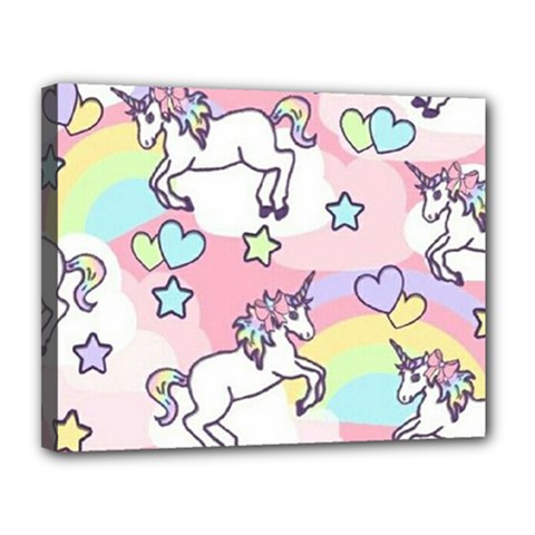 Unicorn Rainbow Canvas 14  X 11  by Nexatart