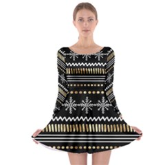 Kawaii Pattern Long Sleeve Skater Dress