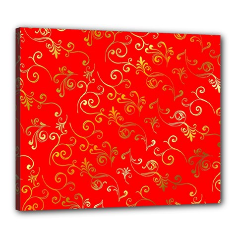 Golden Swrils Pattern Background Canvas 24  X 20  by Nexatart