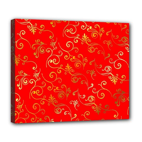 Golden Swrils Pattern Background Deluxe Canvas 24  X 20