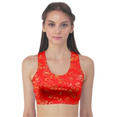 Golden Swrils Pattern Background Sports Bra