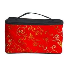 Golden Swrils Pattern Background Cosmetic Storage Case