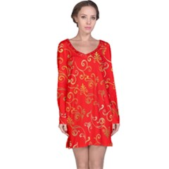 Golden Swrils Pattern Background Long Sleeve Nightdress