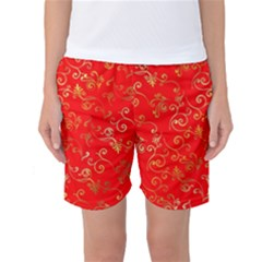 Golden Swrils Pattern Background Women s Basketball Shorts
