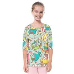 Summer Up Pattern Kids  Quarter Sleeve Raglan Tee by Nexatart