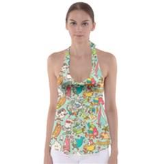Summer Up Pattern Babydoll Tankini Top