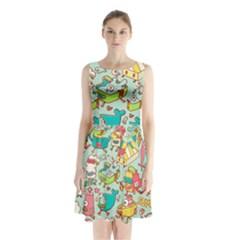 Summer Up Pattern Sleeveless Waist Tie Chiffon Dress