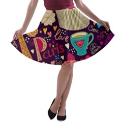 Cute Colorful Doodles Colorful Cute Doodle Paris A Line Skater Skirt