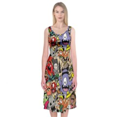 Hipster Wallpaper Pattern Midi Sleeveless Dress