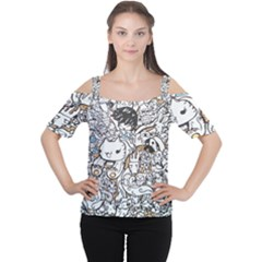 Cute Doodles Women s Cutout Shoulder Tee
