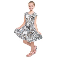 Cute Doodles Kids  Short Sleeve Dress