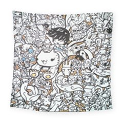 Cute Doodles Square Tapestry (large)