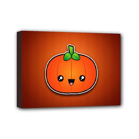 Simple Orange Pumpkin Cute Halloween Mini Canvas 7  X 5  by Nexatart