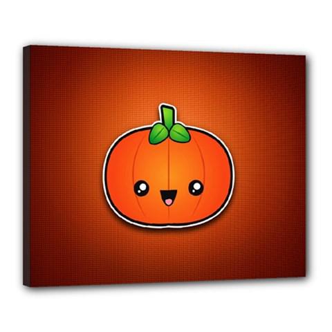 Simple Orange Pumpkin Cute Halloween Canvas 20  X 16