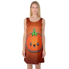 Simple Orange Pumpkin Cute Halloween Sleeveless Satin Nightdress