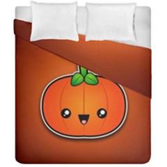 Simple Orange Pumpkin Cute Halloween Duvet Cover Double Side (california King Size) by Nexatart