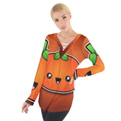 Simple Orange Pumpkin Cute Halloween Women s Tie Up Tee