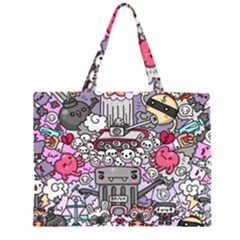 0 Sad War Kawaii Doodle Zipper Large Tote Bag by Nexatart