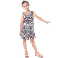 0 Sad War Kawaii Doodle Kids  Sleeveless Dress
