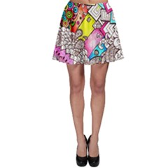 Beautiful Colorful Doodle Skater Skirt