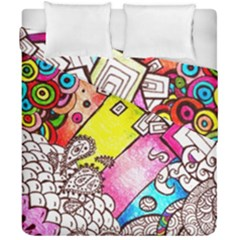 Beautiful Colorful Doodle Duvet Cover Double Side (california King Size) by Nexatart