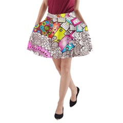 Beautiful Colorful Doodle A Line Pocket Skirt by Nexatart