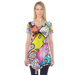 Beautiful Colorful Doodle Short Sleeve Tunic