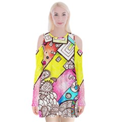 Beautiful Colorful Doodle Velvet Long Sleeve Shoulder Cutout Dress