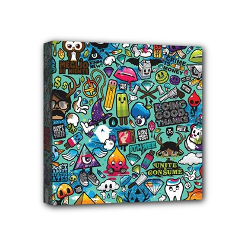 Colorful Drawings Pattern Mini Canvas 4  X 4  by Nexatart