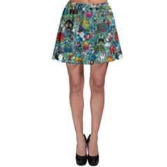 Colorful Drawings Pattern Skater Skirt