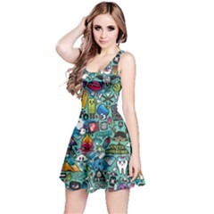 Colorful Drawings Pattern Reversible Sleeveless Dress