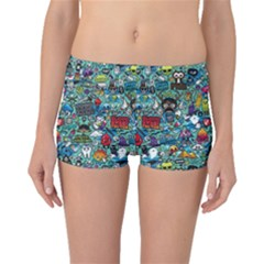 Colorful Drawings Pattern Boyleg Bikini Bottoms