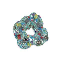 Colorful Drawings Pattern Velvet Scrunchie